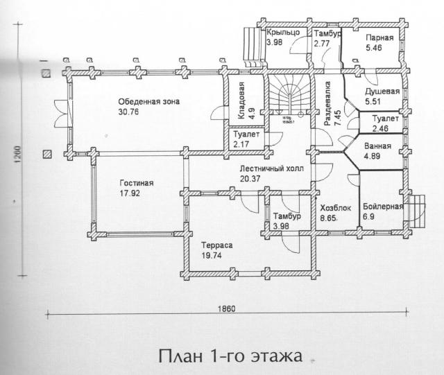 Схема проекта дома из оцилиндрованного бревна ДБ-139