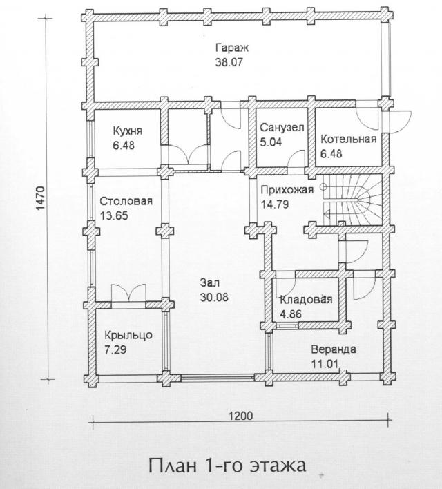 Схема проекта дома из оцилиндрованного бревна ДБ-141