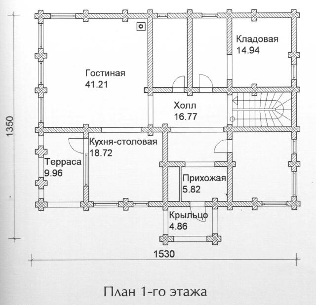 Схема проекта дома из оцилиндрованного бревна ДБ-143