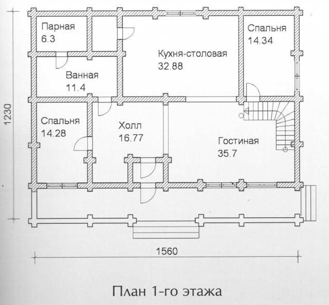 Схема проекта дома из оцилиндрованного бревна ДБ-144