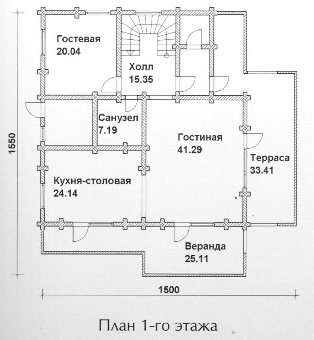 Схема проекта дома из оцилиндрованного бревна ДБ-145