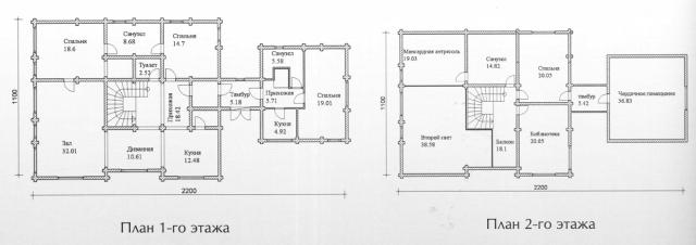 Схема проекта дома из оцилиндрованного бревна ДБ-146