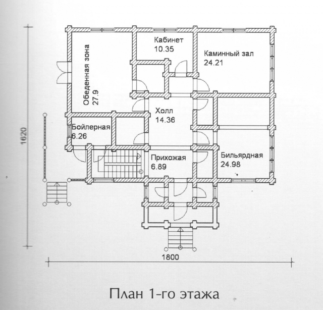 Схема проекта дома из оцилиндрованного бревна ДБ-147