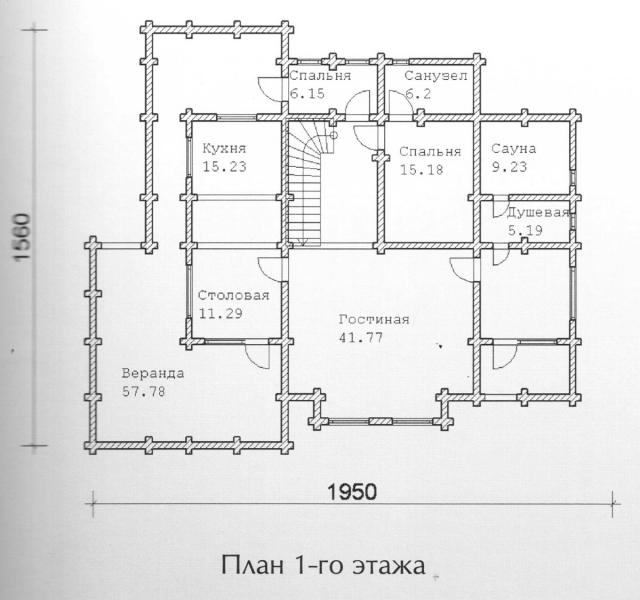 Схема проекта дома из оцилиндрованного бревна ДБ-148