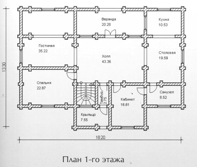 Схема проекта дома из оцилиндрованного бревна ДБ-149