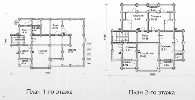 Схема проекта дома из оцилиндрованного бревна ДБ-151