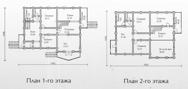 Схема проекта дома из оцилиндрованного бревна ДБ-152