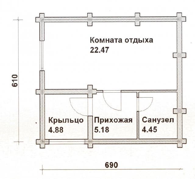Схема проекта дома из оцилиндрованного бревна ДБ-18