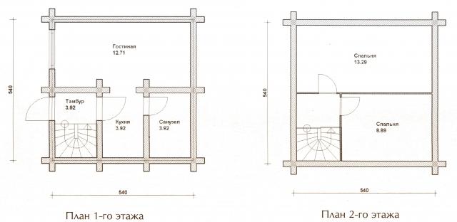 Схема проекта дома из оцилиндрованного бревна ДБ-19