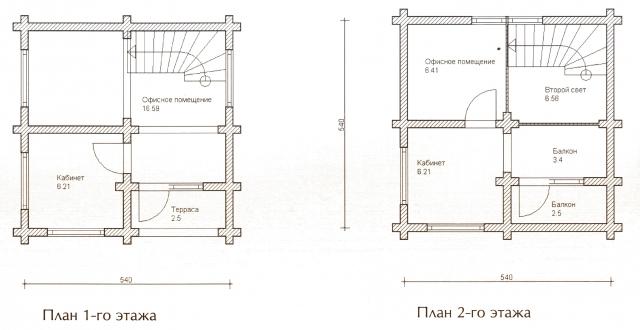 Схема проекта дома из оцилиндрованного бревна ДБ-20