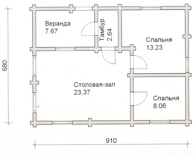Схема проекта дома из оцилиндрованного бревна ДБ-21