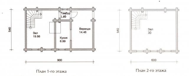 Схема проекта дома из оцилиндрованного бревна ДБ-23