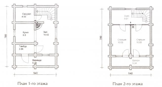 Схема проекта дома из оцилиндрованного бревна ДБ-24