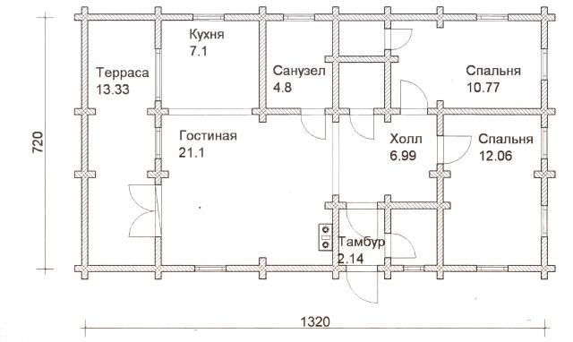 Схема проекта дома из оцилиндрованного бревна ДБ-26