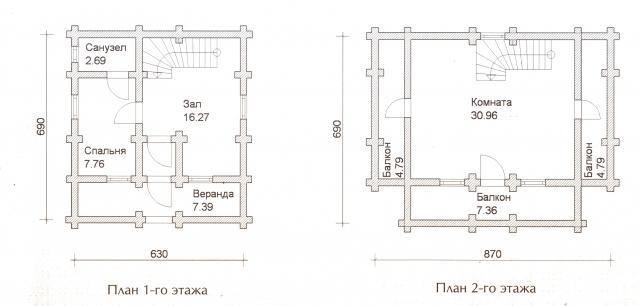 Схема проекта дома из оцилиндрованного бревна ДБ-27
