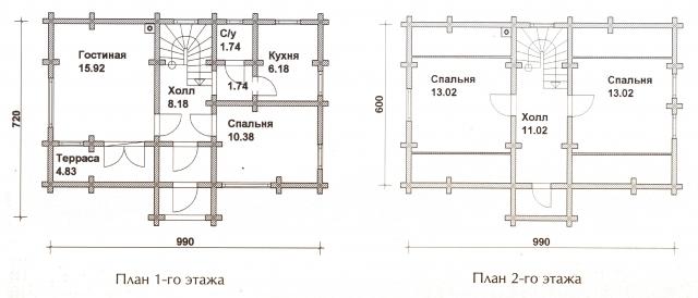 Схема проекта дома из оцилиндрованного бревна ДБ-28