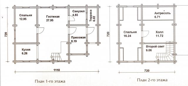 Схема проекта дома из оцилиндрованного бревна ДБ-29