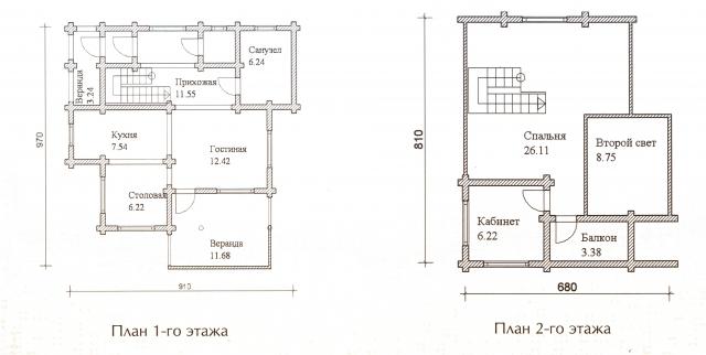 Схема проекта дома из оцилиндрованного бревна ДБ-30
