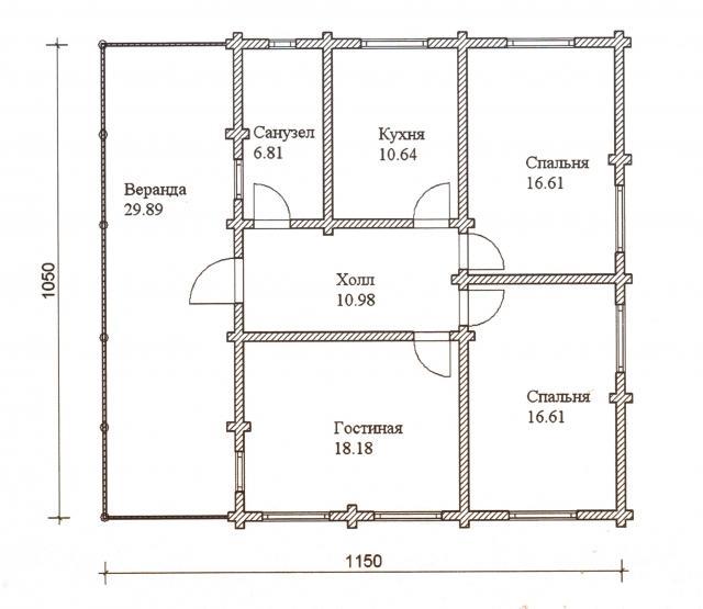 Схема проекта дома из оцилиндрованного бревна ДБ-31
