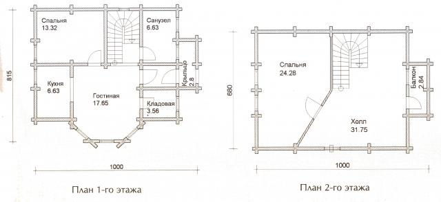 Схема проекта дома из оцилиндрованного бревна ДБ-32