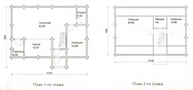 Схема проекта дома из оцилиндрованного бревна ДБ-33