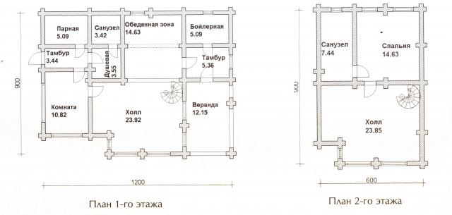 Схема проекта дома из оцилиндрованного бревна ДБ-35