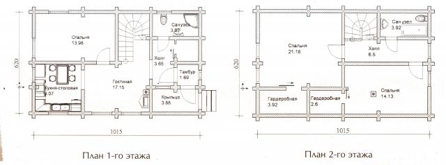 Схема проекта дома из оцилиндрованного бревна ДБ-36