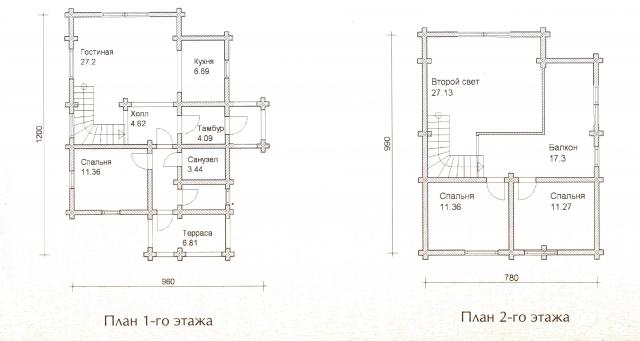 Схема проекта дома из оцилиндрованного бревна ДБ-37