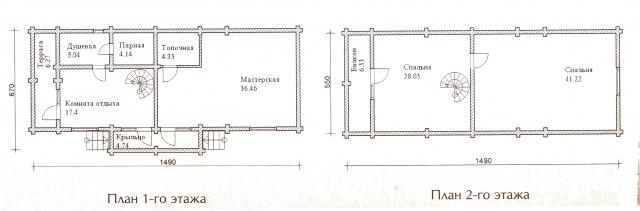 Схема проекта дома из оцилиндрованного бревна ДБ-40
