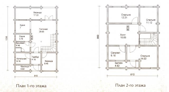 Схема проекта дома из оцилиндрованного бревна ДБ-41
