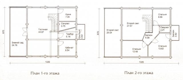 Схема проекта дома из оцилиндрованного бревна ДБ-42