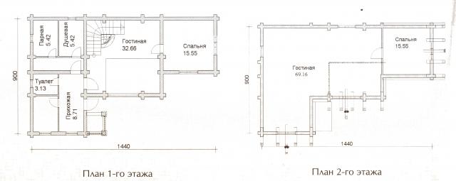 Схема проекта дома из оцилиндрованного бревна ДБ-43