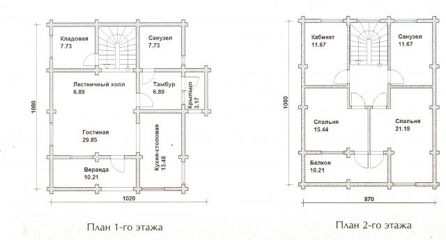 Схема проекта дома из оцилиндрованного бревна ДБ-44
