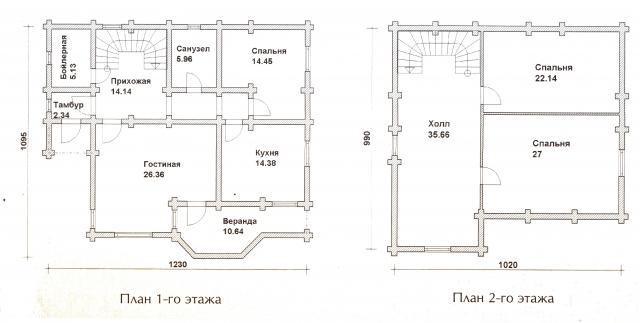 Схема проекта дома из оцилиндрованного бревна ДБ-45
