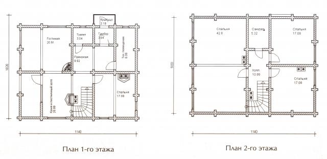Схема проекта дома из оцилиндрованного бревна ДБ-46