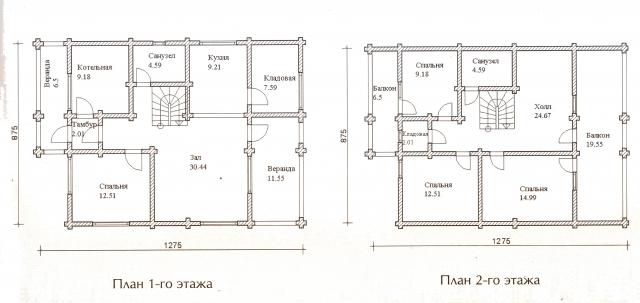 Схема проекта дома из оцилиндрованного бревна ДБ-47