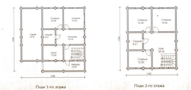Схема проекта дома из оцилиндрованного бревна ДБ-48