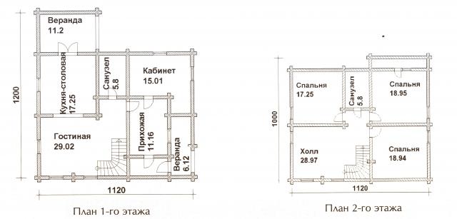 Схема проекта дома из оцилиндрованного бревна ДБ-49