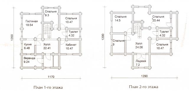 Схема проекта дома из оцилиндрованного бревна ДБ-50