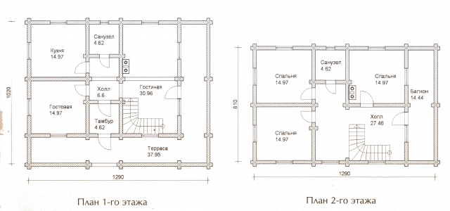 Схема проекта дома из оцилиндрованного бревна ДБ-51