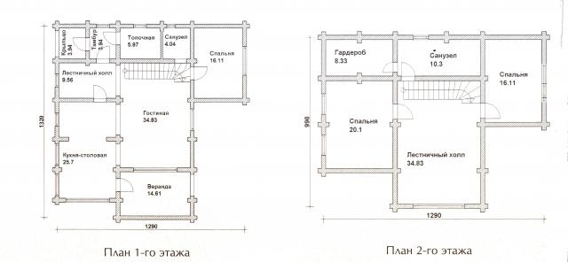 Схема проекта дома из оцилиндрованного бревна ДБ-52