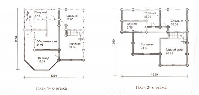 Схема проекта дома из оцилиндрованного бревна ДБ-53