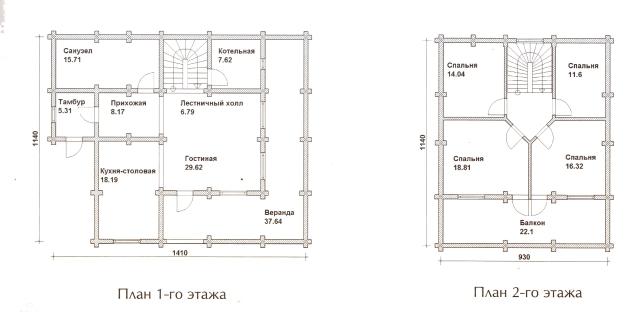 Схема проекта дома из оцилиндрованного бревна ДБ-54