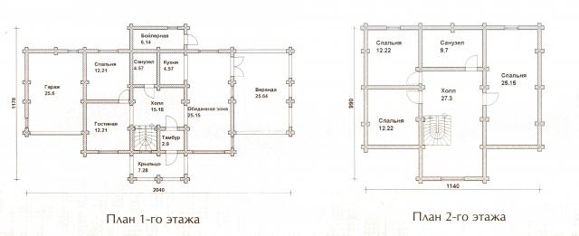 Схема проекта дома из оцилиндрованного бревна ДБ-55