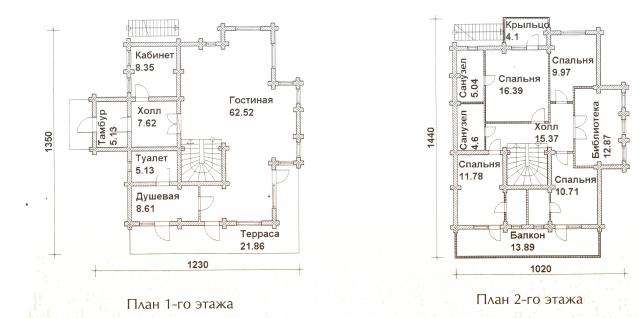 Схема проекта дома из оцилиндрованного бревна ДБ-56