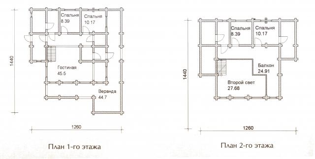 Схема проекта дома из оцилиндрованного бревна ДБ-57