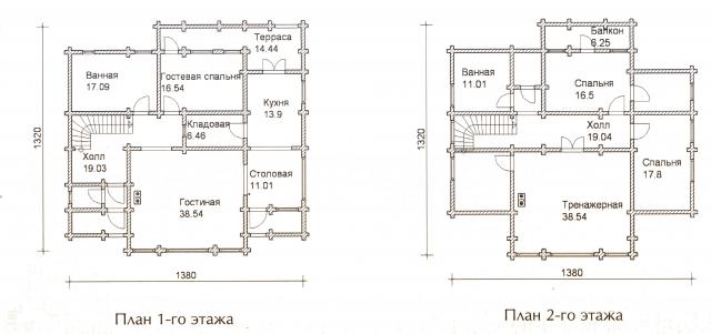 Схема проекта дома из оцилиндрованного бревна ДБ-58