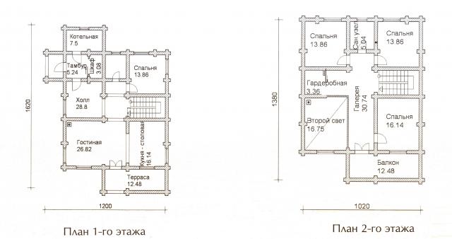 Схема проекта дома из оцилиндрованного бревна ДБ-59