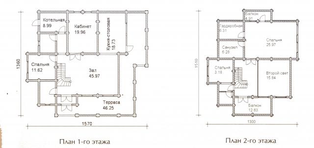 Схема проекта дома из оцилиндрованного бревна ДБ-60