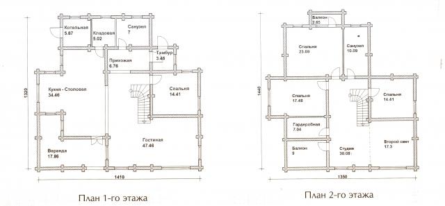 Схема проекта дома из оцилиндрованного бревна ДБ-61